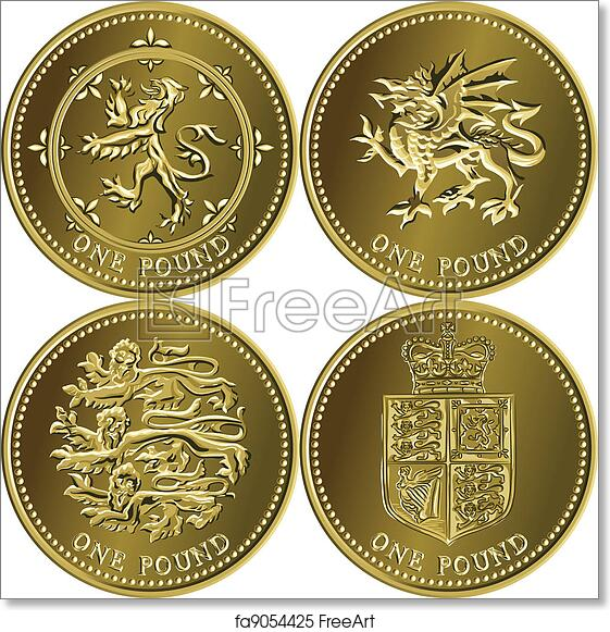 Free art print of Vector set British money gold coin one pound