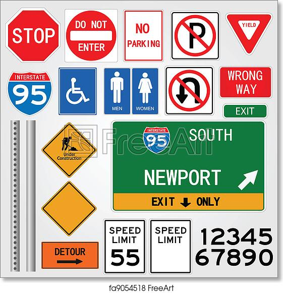 photo about Free Printable Road Signs named Free of charge artwork print of Highway Indications Example