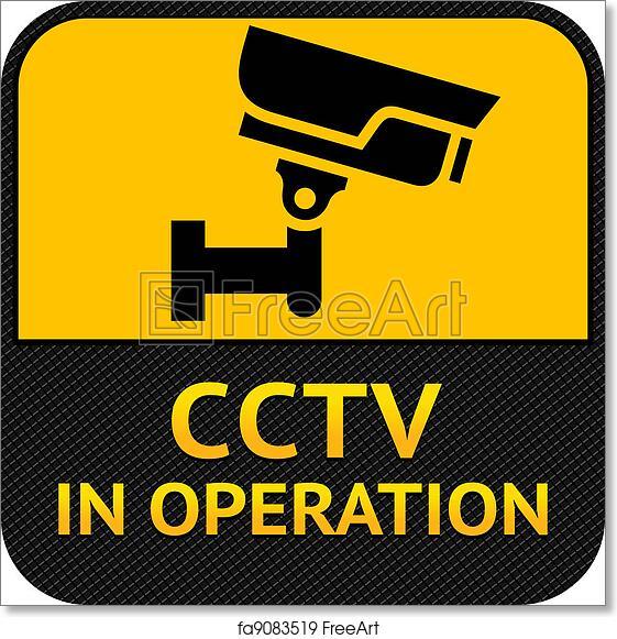 Free Art Print Of Cctv Symbol Label Security Camera Warning