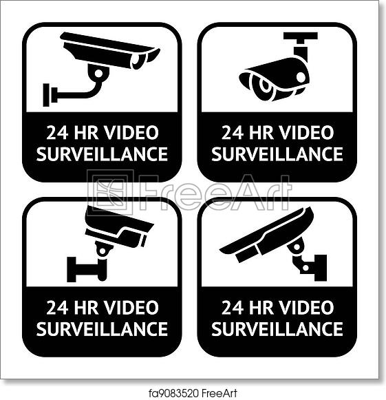photograph regarding Video Surveillance Signs Printable called Cost-free artwork print of CCTV labels, established emblem stability digicam pictogram