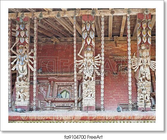 Free Art Print Of Canoe Temple Was Built In The 12th Century Also Known As Gaza Is Full Of Huts In Kathmandu Durbar Square Wood City Temple The