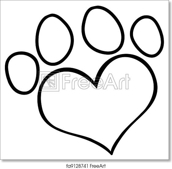 Free Art Print Of Outlined Love Paw Print Outlined Heart Shaped Dog