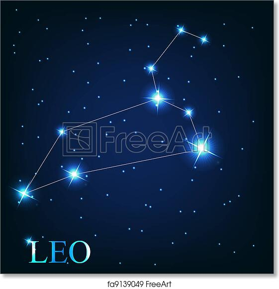 fddca40a4 Vector of the leo zodiac sign of the beautiful bright stars on the  background of cosmic sky