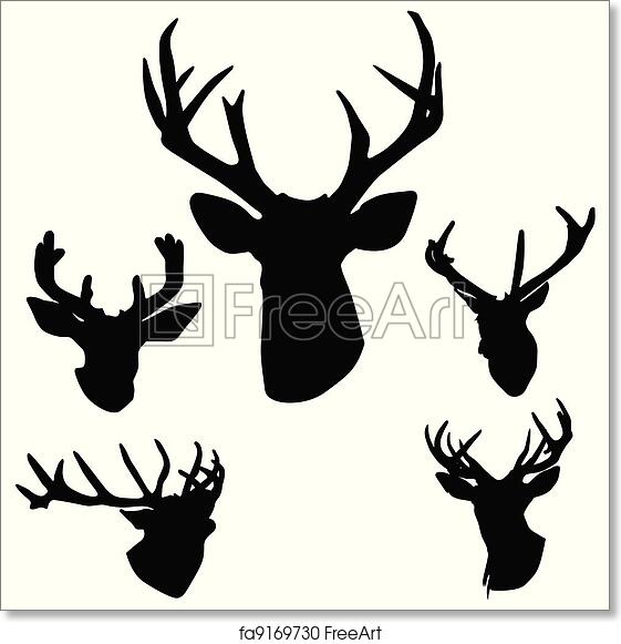 picture relating to Printable Deer Antlers named Absolutely free artwork print of Deer antlers silhouette