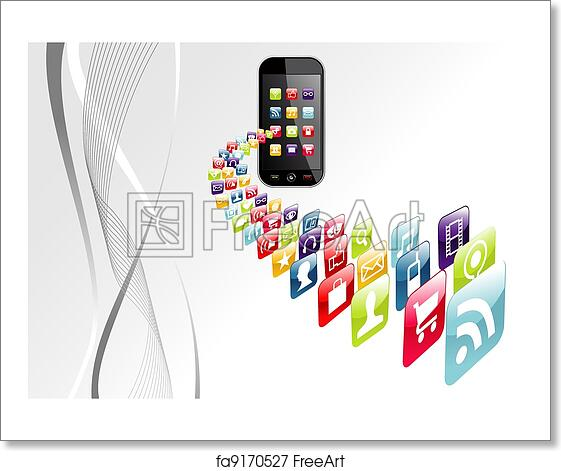 The Tech Art Download App For Pc Gaming: Free Art Print Of Global Iphone Apps Icons Tech Background