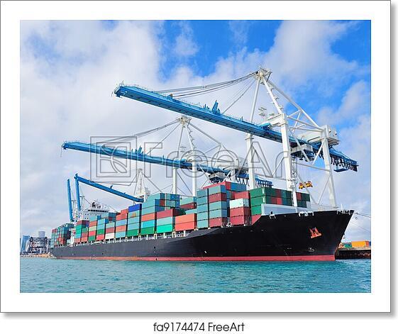 Free art print of Cargo ship at Miami harbor. Cargo ship ...