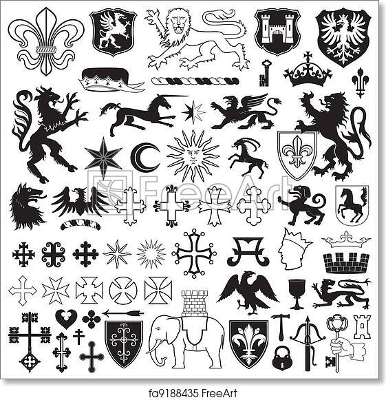 Free Art Print Of Heraldic Symbols And Crosses