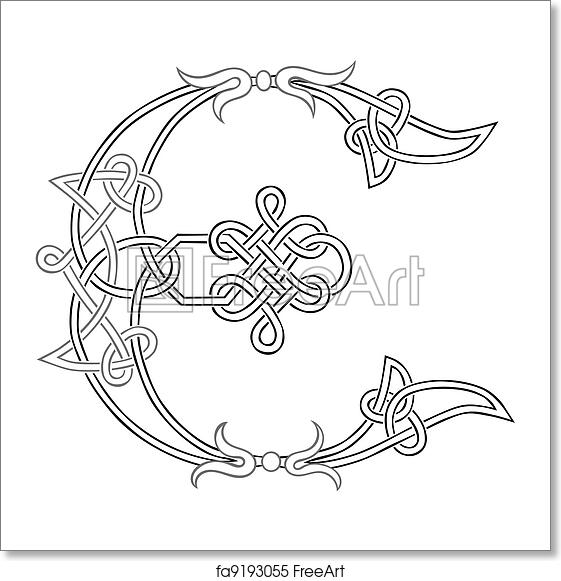 Free Art Print Of Celtic Knot Work Capital Letter E A Celtic Knot