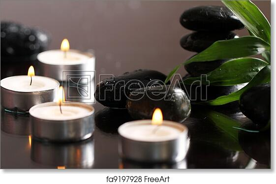 free art print of massage stones and candles close up of massage