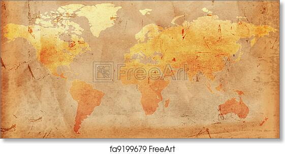 Vintage World Map Art.Free Art Print Of Vintage World Map Vintage Outline World Map Over