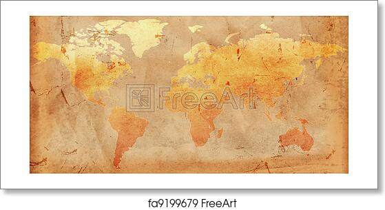 Vintage World Map Art.Free Art Print Of Vintage World Map Vintage Outline World Map Over