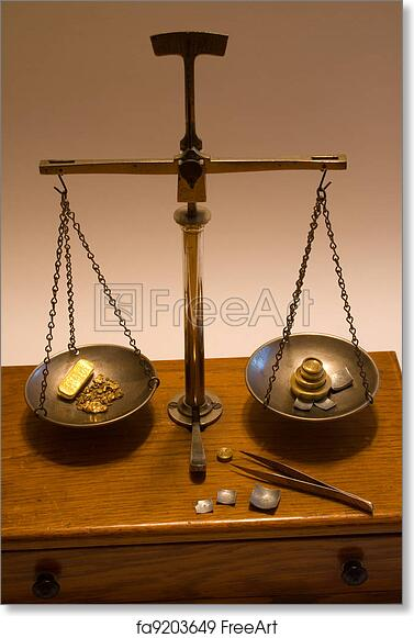 free art print of antique balance scale weighing gold weighing gold