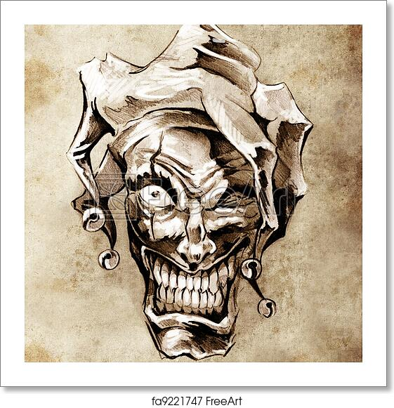 Free Art Print Of Fantasy Clown Joker Sketch Of Tattoo Art Over Dirty Background Freeart Fa9221747