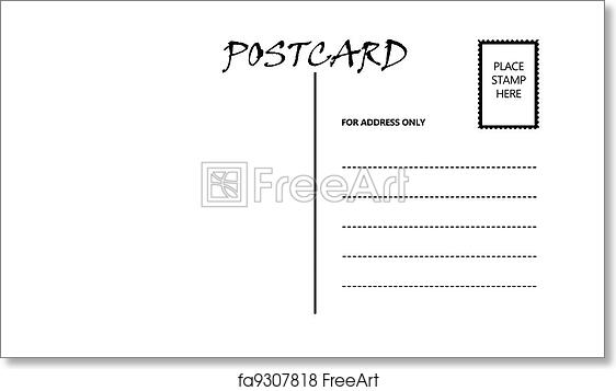 free art print of empty blank postcard template white empty postcard template with copy area. Black Bedroom Furniture Sets. Home Design Ideas