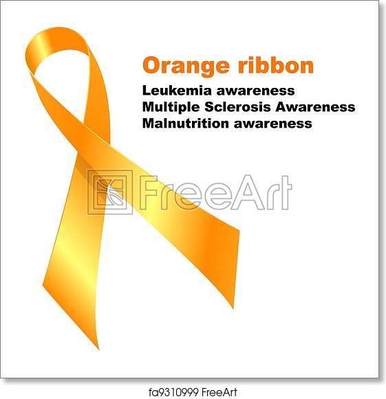 Free Art Print Of Orange Ribbon Orange Ribbon Leukemia Awareness