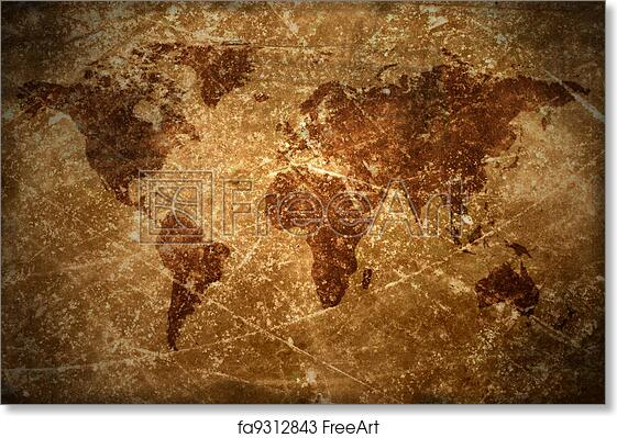 Vintage World Map Art.Aged Vintage World Map Texture And Art Print Home Decor Wall Art