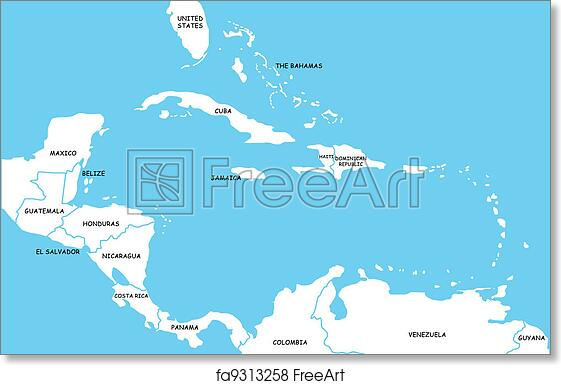 picture about Printable Map of Caribbean Islands called Free of charge artwork print of Map of Caribbean Islands