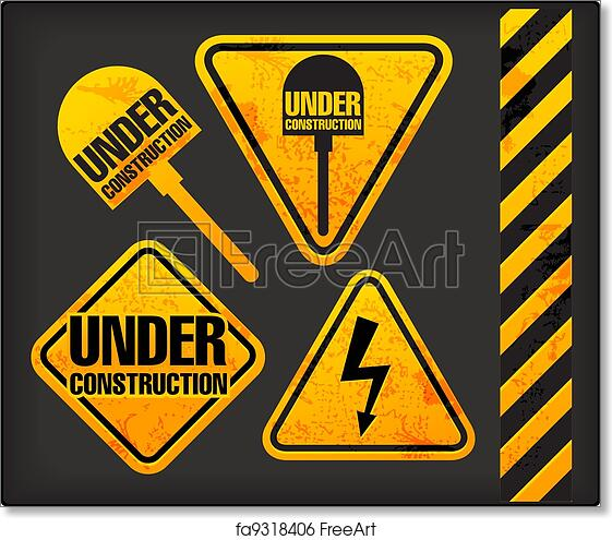 photo regarding Free Printable Construction Signs called Cost-free artwork print of Down below composition. Grunge indications with the lights and spade