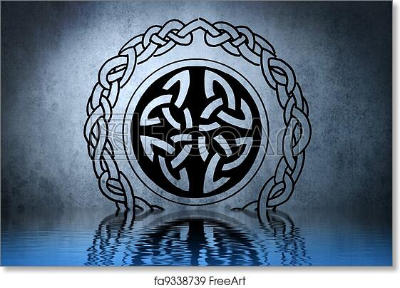 Free Art Print Of Celtic Tattoo Drawing On Blue Wall With Water