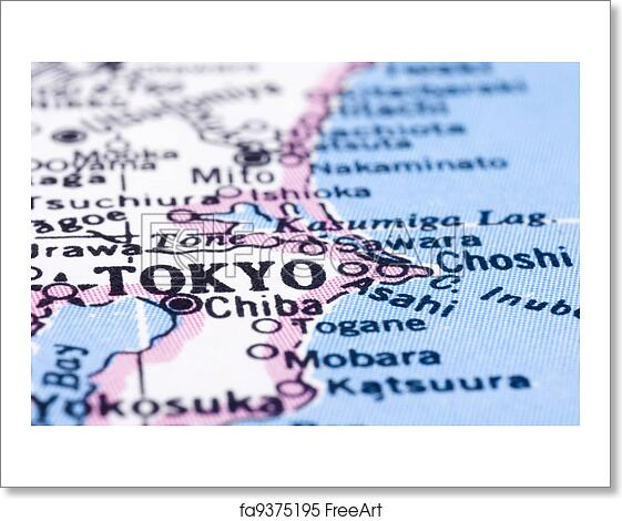 Free Art Print Of Close Up Of Tokyo On Map Japan A Close Up Shot
