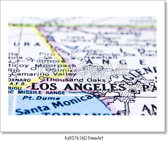 Free Art Print Of Close Up Of Los Angeles On Map United States A