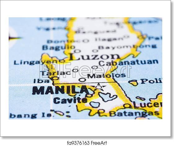 Free art print of close up of manila on map philippines a close up free art print of close up of manila on map philippines publicscrutiny Images