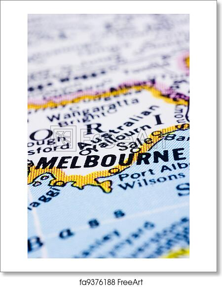 Australia Melbourne Map.Free Art Print Of Close Up Of Melbourne On Map Australia