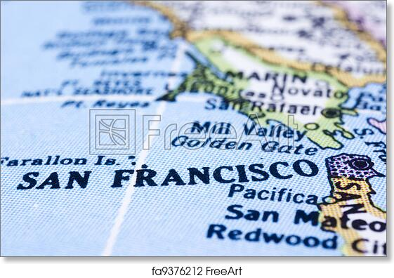 Free art print of Close up of San Francisco on map united states A