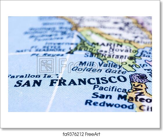 Free Art Print Of Close Up Of San Francisco On Map United States A - San-francisco-us-map