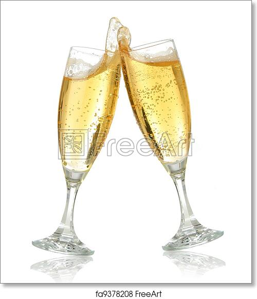 free art print of celebration toast with champagne pair of