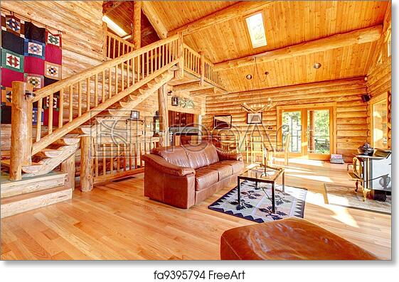 Free art print of Luxury log cabin living room with leather sofa