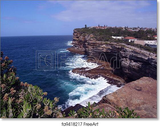 . Free art print of Sydney coast  cliffs  houses scenery