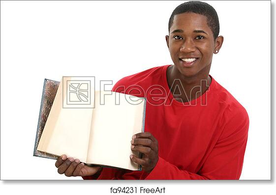 8442f0f130 Free art print of Casual Man Book. Attractive Young Man Holding Open Book  with Blank Pages. Shot in studio over white. | FreeArt | fa94231