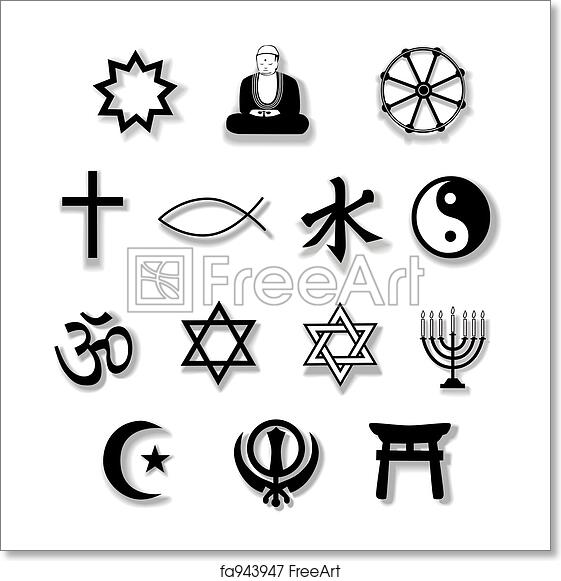Free Art Print Of Religion Symbols With Drop Shadows Drop Shadows