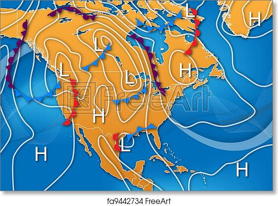 Weather Map Of America.Free Art Print Of Weather Map Of North America Weather Map Design