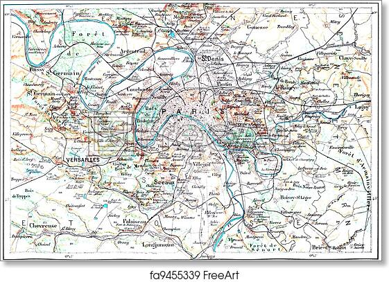 graphic regarding Printable Maps of Paris called No cost artwork print of Topographical Map of Paris, France, typical engraving