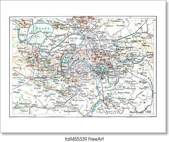 Free Art Print Of Topographical Map Of Paris France Vintage