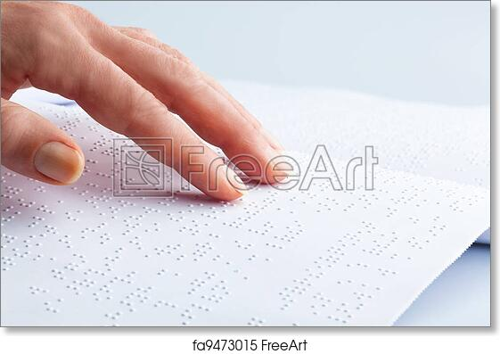 Free art print of Braille and finger  book in braille