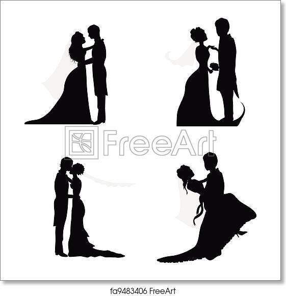 Free art print of Wedding couple silhouettes. Wedding