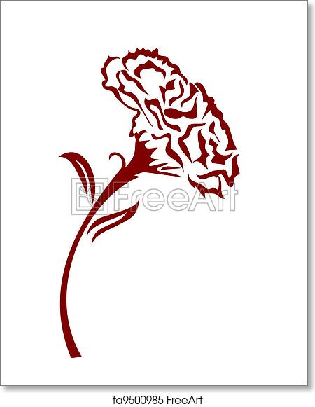 Free Art Print Of Carnation Flower The Drawing Background Of One