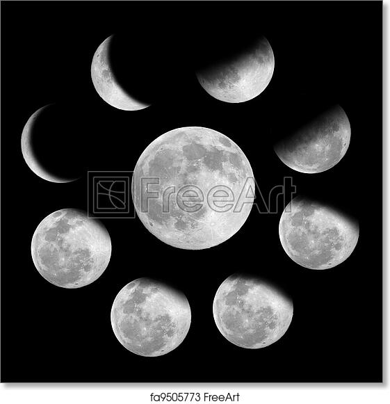 graphic relating to Phases of the Moon Printable referred to as Free of charge artwork print of 9 levels of the moon