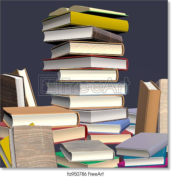 free art print of stacked books digital design 3d rendered