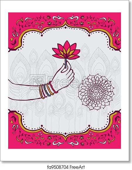 Free Art Print Of India Lotus Flower And Woman Hand Background