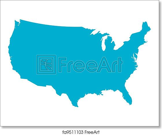 Free Art Print Of Blue USA Country Map Blue Country Map Of The - Usa country map