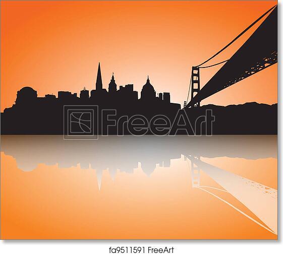 free art print of san francisco skyline silhouette sunset vector
