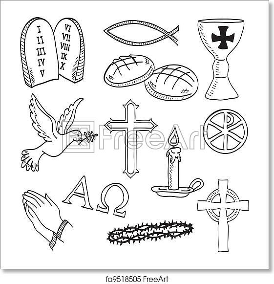 Free Art Print Of Christian Hand Drawn Symbols Illustration