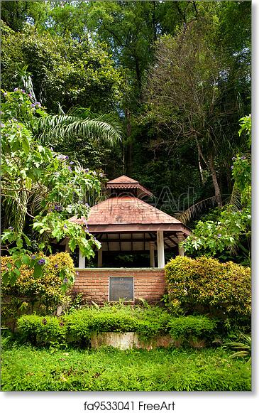 Free art print of Pagoda or rotunda in garden. A pagoda in the lush ...