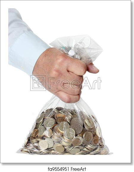 Free art print of Hand holding a bag of money