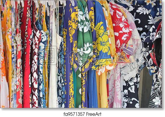 094374d9 Free art print of Hawaiian shirts. Racks filled with men's Hawaiian shirts  and women's Hawaiian dresses | FreeArt | fa9571357