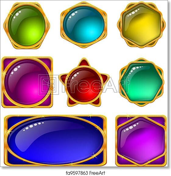image relating to Printable Transparencies named Totally free artwork print of Buttons with multicolored gems, fastened